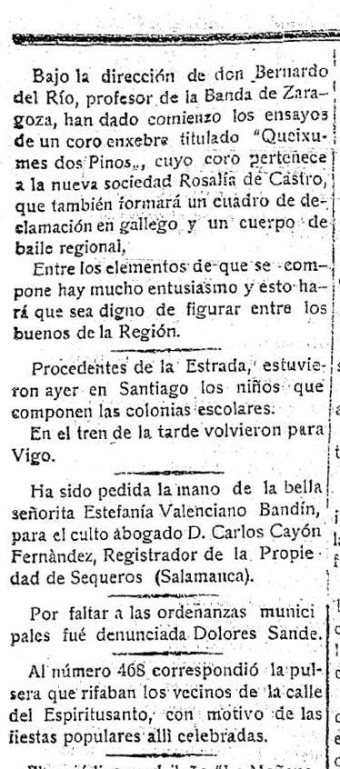 1918.09.12 Gaceta de Galicia. Diario de Santiago. Decano de la prensa de Compostela (Bernardo del Río)